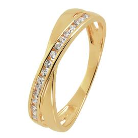 Revere 9ct Gold Open Crossover Cubic Zirconia Ring