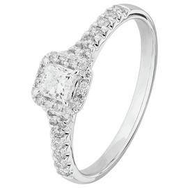 Revere 9ct White Gold 0.50ct tw Diamond Halo Ring