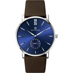 Accurist Men's Blue Dial Brown Strap Watch
