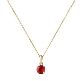 Revere 9ct Gold Created Ruby 5mm Pendant 16in Necklace