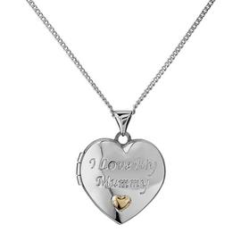 Moon & Back Silver 'I Love My Mummy' Locket 18 Inch Necklace