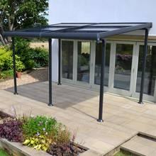 Aluminium 4m x 3m Wall Gazebo with Retractable Roof - Black