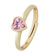 more details on Miss Glitter 9ct Gold Kids' Pink CZ Heart Adjustable Ring.