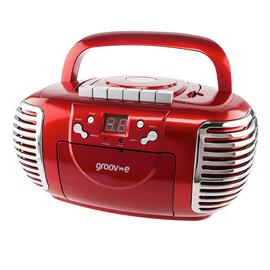 Groov-e Retro CD Boombox with Cassette & Radio – Red