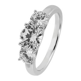 Revere Sterling Silver 3 Stone Round Cubic Zirconia Ring