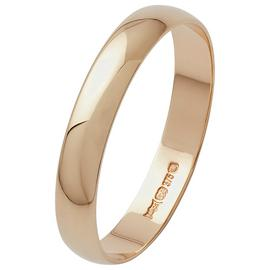 Revere 9ct Gold D-Shape Wedding Ring - 3mm