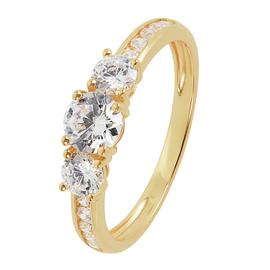 Revere 9ct Gold Cubic Zirconia 3 Stone Shoulder Ring