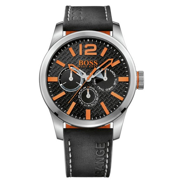 e41ebd7229f Buy Hugo Boss Orange Paris Men s Black Leather Strap Watch