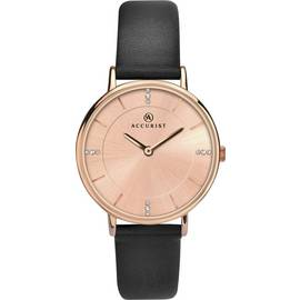 Accurist Ladies' Rose Colour Dial Black Leather Strap Watch