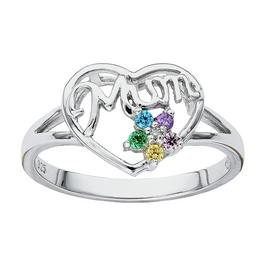 Moon & Back Sterling Silver Mum Cubic Zirconia Ring
