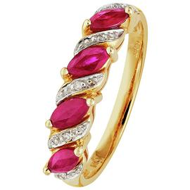 Revere 9ct Gold Ruby and 0.25ct Diamond Eternity Ring