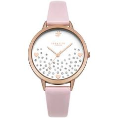 Identity Glitter Heart Dial with Pink Strap Watch