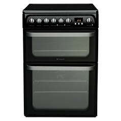 Hotpoint HUE61KS Double Electric Cooker - Black