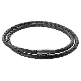 Revere Men's Two Layer Stainless Steel and Leather Bracelet