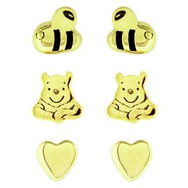 Disney Pooh Bear 9ct Gold Plated SS Set of 3 Stud Earrings