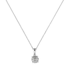Revere 9ct White Gold 0.15ct tw Diamond Halo Pendant