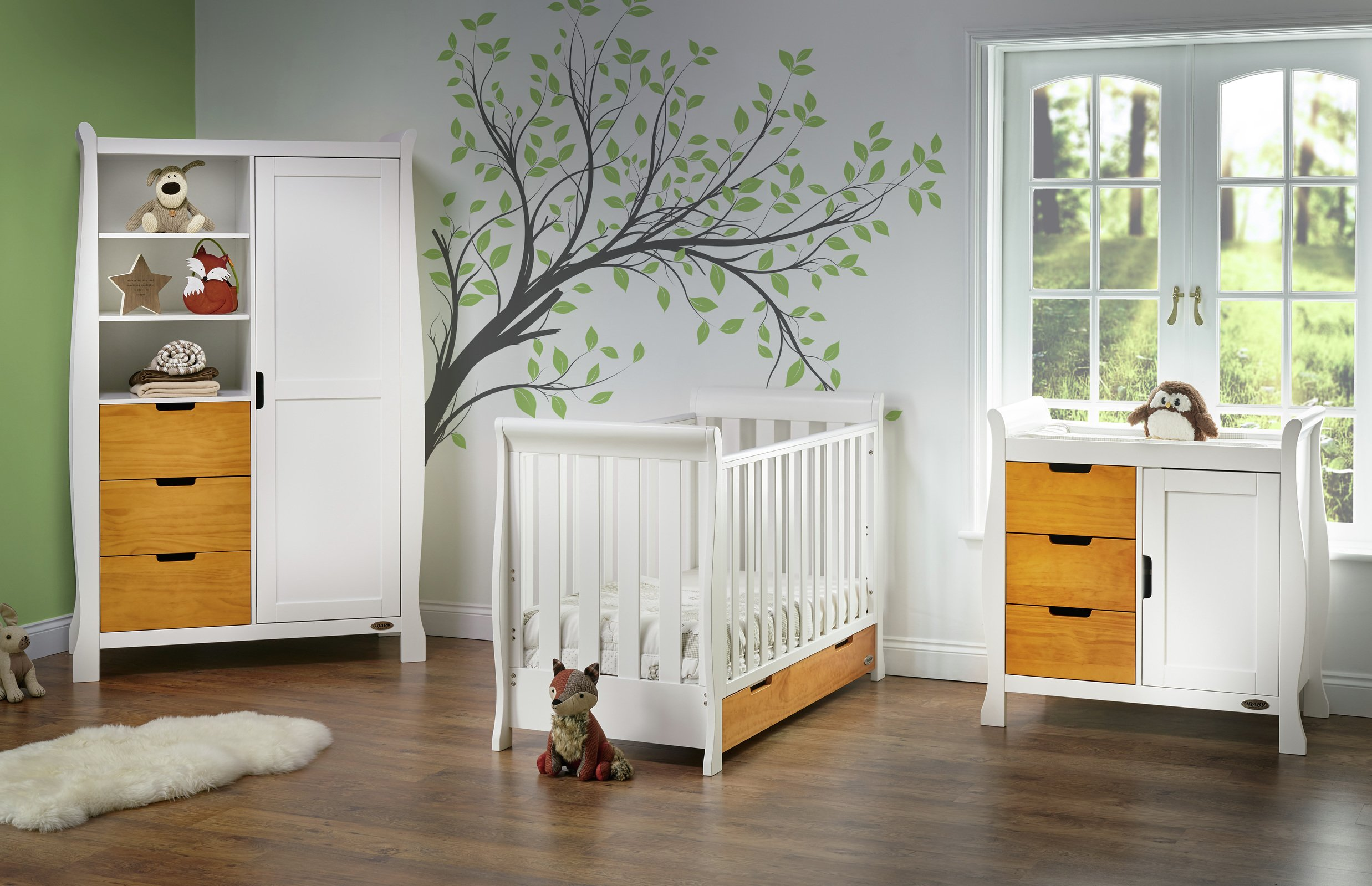 Obaby Stamford Mini 3 Piece Room Set   White With Pine