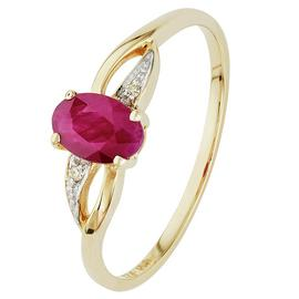 Revere 9ct Yellow Gold Oval Ruby and Diamond Accent Ring
