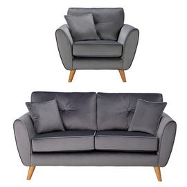 Argos Home Isla Velvet Chair & 2 Seater Sofa - Grey