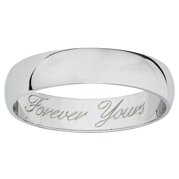 Buy Revere 9ct White Gold Heavyweight Message Wedding Ring N Womens Rings Argos