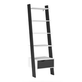 Viken 4 Shelf 1 Drawer Ladder Bookcase - Black & White