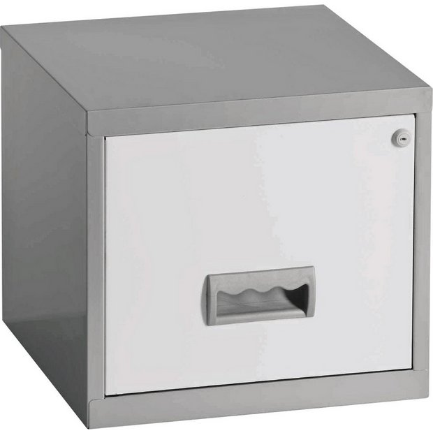 buy pierre henry 1 drawer filing cabinet silver white at