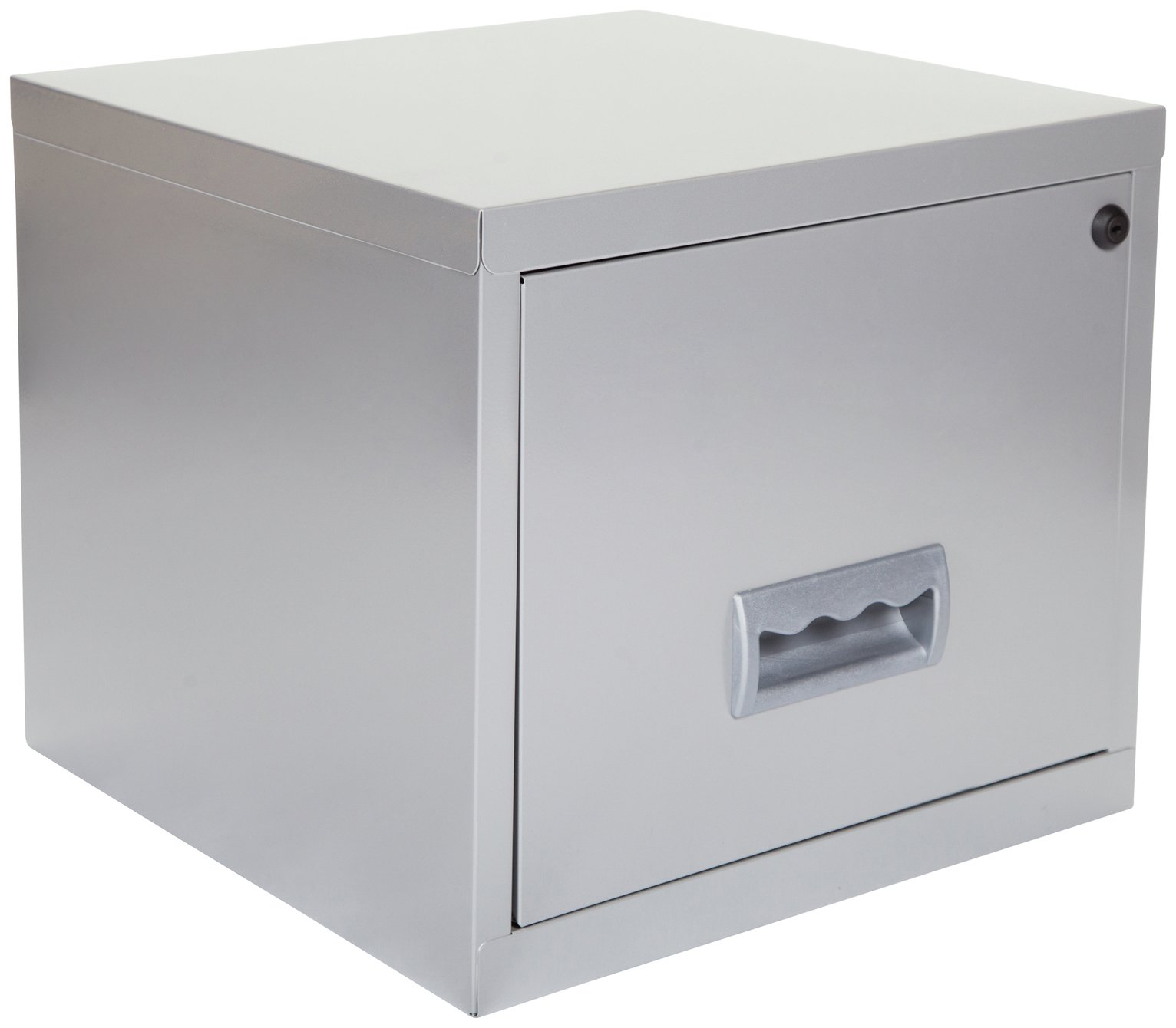 Pierre Henry 1 Drawer Filing Cabinet   Silver.