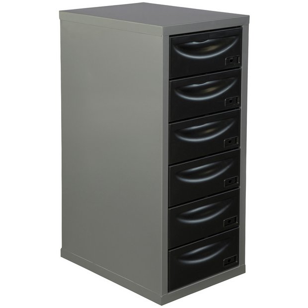 Buy pierre henry 6 drawer multi filing cabinet silver for Black and silver cabinet