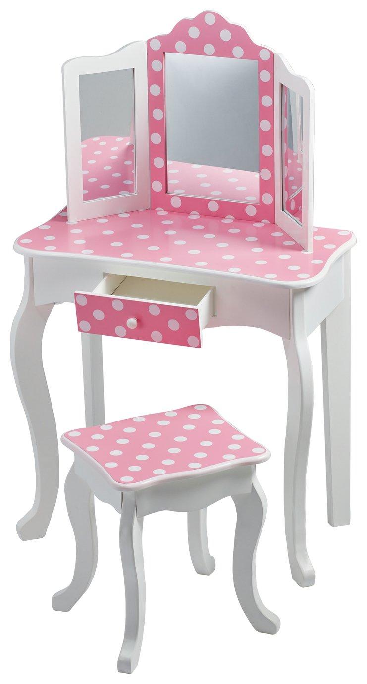 Teamson Kids Fashion Prints Vanity Table \u0026 Stool- Polka Dot  sc 1 st  Argos & Results for childrens table