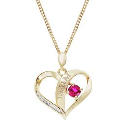 Moon & Back Silver Ruby Heart Mum Pendant Necklace