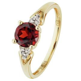 Revere 9ct Yellow Gold Garnet and Diamond Accent Ring