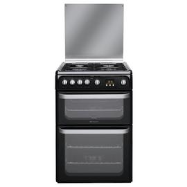 Hotpoint HUG61K 60cm Double Oven Gas Cooker - Black