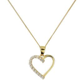 Revere 9ct Gold CZ Heart Pendant 18 Inch Necklace