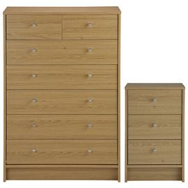 Argos Home Malibu Bedside Table & 5+2 Drawer Chest Set