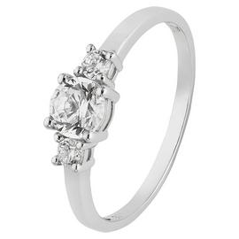 Revere 9ct White Gold Cubic Zirconia Trilogy Stone Ring