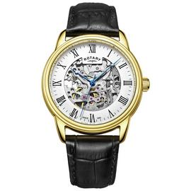 Rotary Men's Black Leather Strap Skeleton Watch