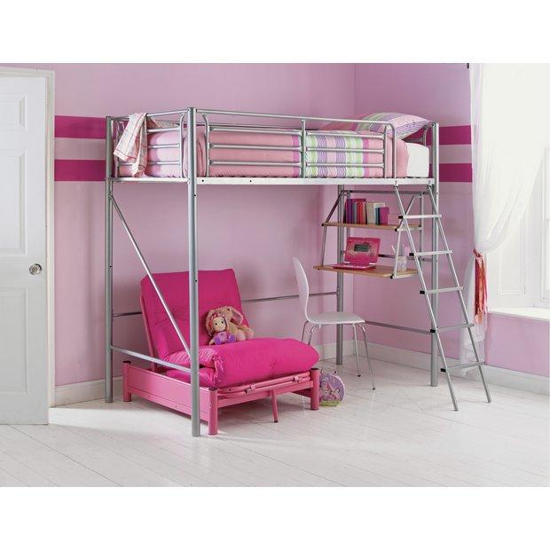 buy home sit 39 n sleep metal high sleeper futon bed frame. Black Bedroom Furniture Sets. Home Design Ideas