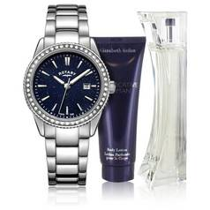 Rotary Ladies' Blue Aventurine Effect Watch and Perfume Set