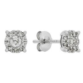 Revere 9ct White Gold 0.25ct tw Diamond Cluster Stud Earring