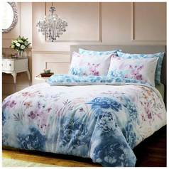 Pieridae Blue Bold Painted Floral Bedding Set - Double