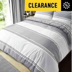 Pieridae Grey Banded Striped Bedding Set - Superking