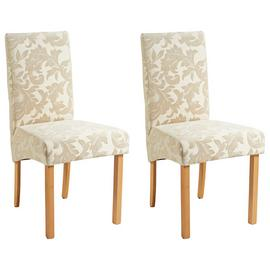 Argos Home Pair of Fabric Skirted Chairs - Cream Damask