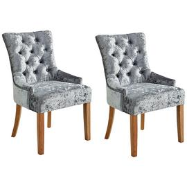 Argos Home Cherwell Pair of Velvet Chairs - Grey