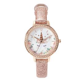 Tikkers Children's Rose Gold Coloured Leather Strap Watch