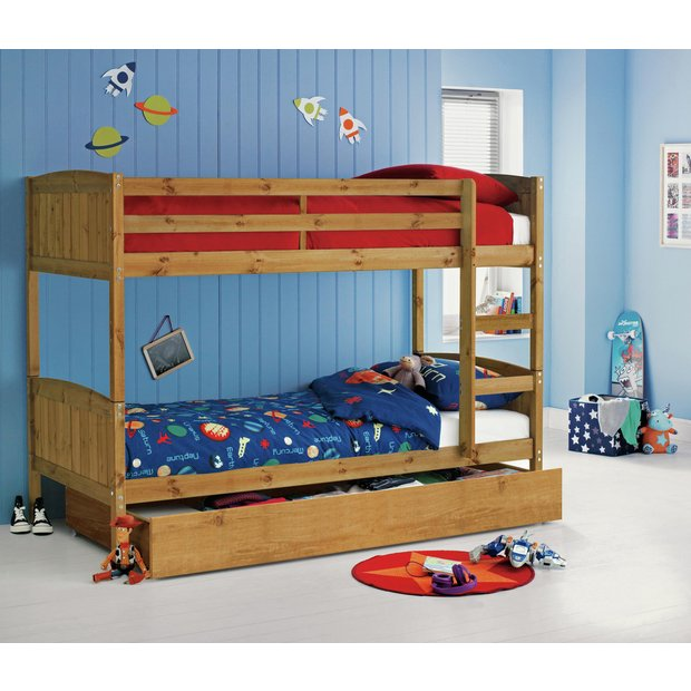 Buy Home Detachable Single Bunk Bed Frame With Storage
