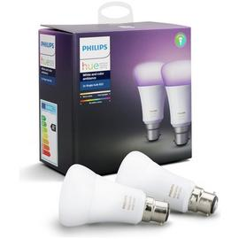 Philips Hue White and Colour Ambience B22 Bulb Twin Pack.