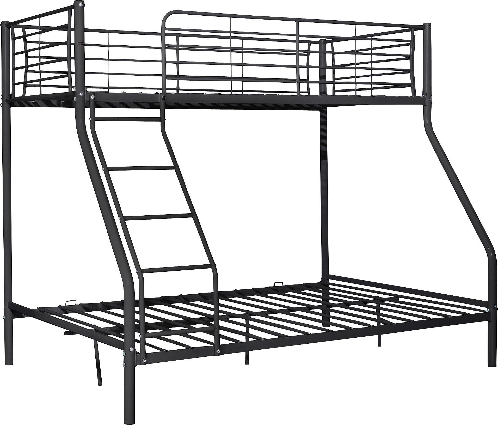home lucas metal triple bunk bed frame black