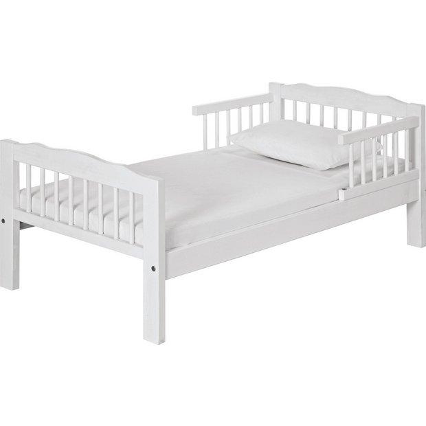 Buy home antique pine toddler bed frame white at argos for Kids white bed frame