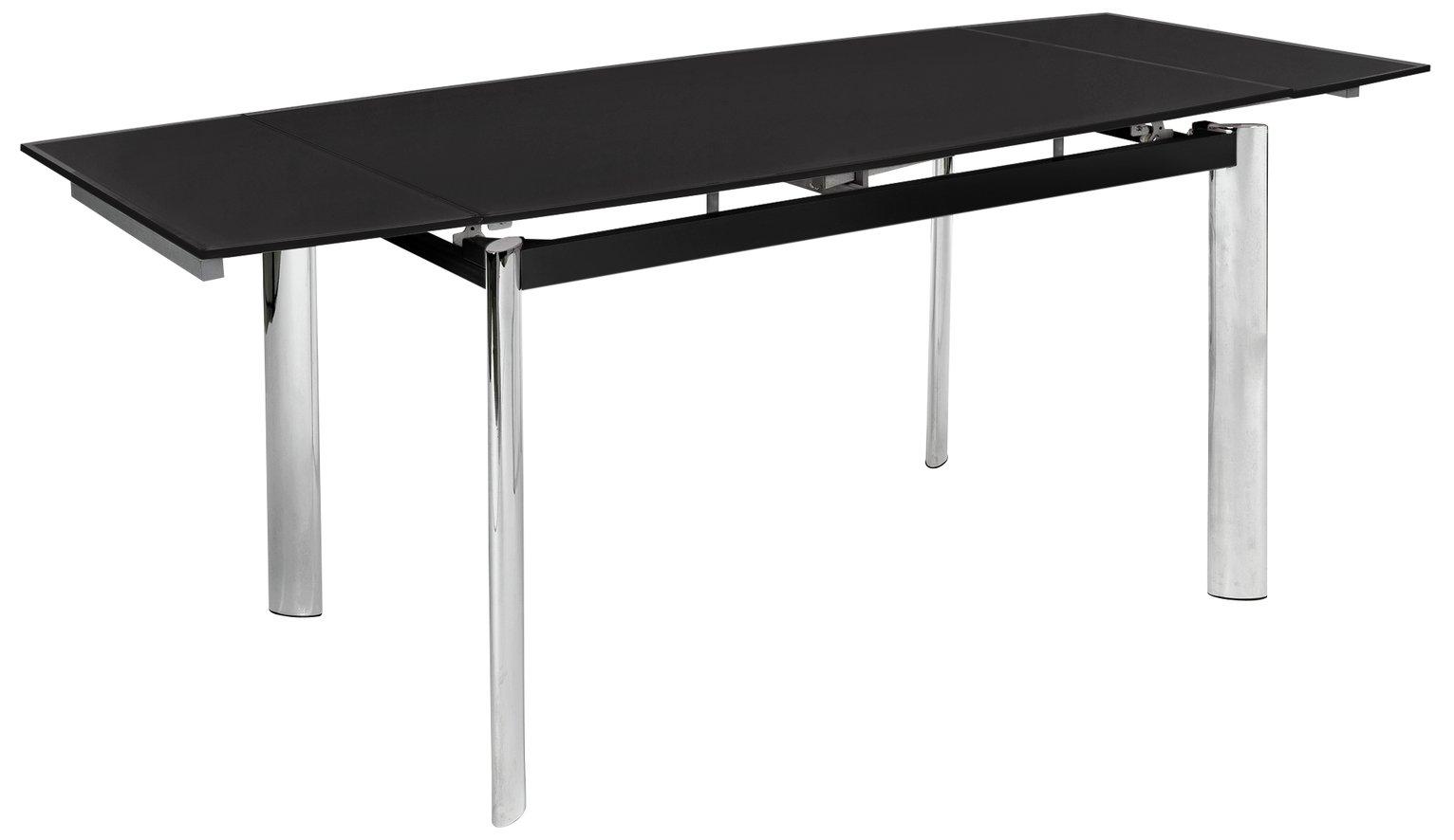 hygena erik extendable glass 8 seater dining table black