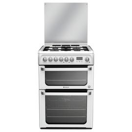 Hotpoint HUD61PS 60cm Double Oven Dual Fuel Cooker - White